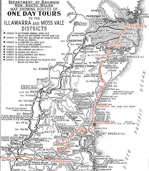 Click to enlarge: this historic map was originally issued by the New South Wales Government Railways in the 1940s to passengers on their day tours – our route is highlighted in red